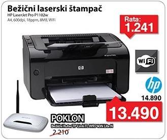 Bežični laserski štampač LaserJet 1102w + Poklon WiFi ruter Tp-Link Tl-Wr740n Lite N