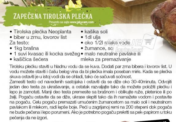 Recept - Zapečena Tirolska plećka