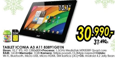 Tablet Iconia A3 A11 83891g01n