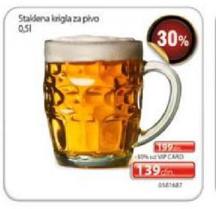 Staklena krigla za pivo