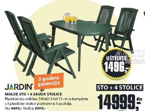 Baštenski sto Molde sa 4 Sauda stolice Jardin