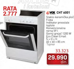 Šporet  CHT 6001