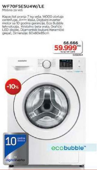 Mašina za pranje veša Wf70f5se5u4w/le