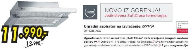 Ugradni aspirator na izvlačenje Df 6316 Xsc
