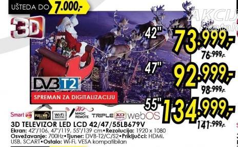 """Televizor LED 47"""" 3D 47lb679v"""
