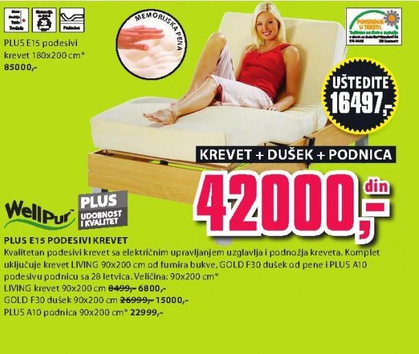 Podesivi krevet Plus E15 sa dušekom i podnicom 180x200