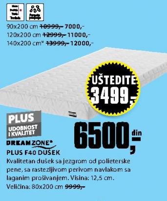 Dušek, Plus F40 80x200 cm