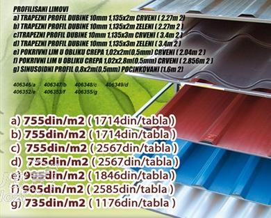 Profilisani lim Crveni 1,135x2m