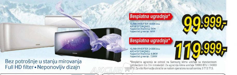 Klima inverter AR-24FSFT+Poklon: Besplatna ugradnja za Samsung klime