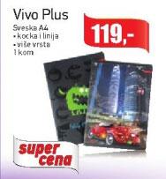 Vivo Plus Sveska A4, kocka i linija, više vrsta
