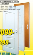 Sobna vrata Kraft Master 80/15 kvadrat bela