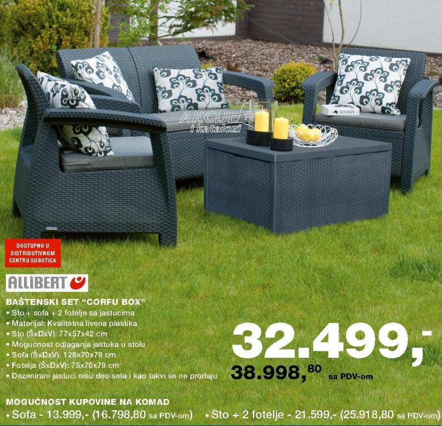 Baštenski sto i dve fotelje Corfu Box Allibert