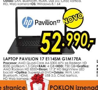 Laptop Pavilion 17 E114SM G1M17EA
