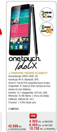 Mobilni telefon ALCATEL ONE TOUCH Idol X