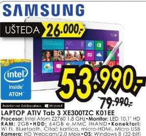 Laptop ATIV Tab 3 XE300TZC-K01EE