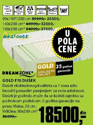 Dušek, Gold F70 90X190/200CM