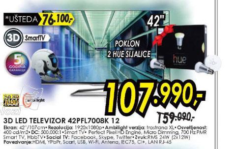 3D televizor LED LCD 42PFL7008K/12+poklon 2 HUE Sijalice