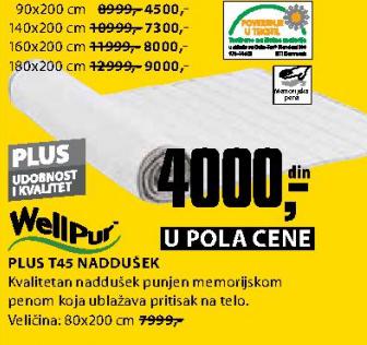 Naddušek, Plus T45 80x200 cm