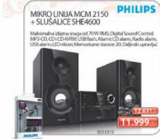 Mini linija MCM2150/12+ poklon slusalice SHE4600/00