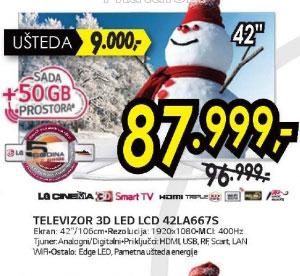 3D televizor LED LCD 42LA667S