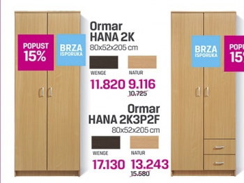 Ormar Hana 2K3P2F, wenge