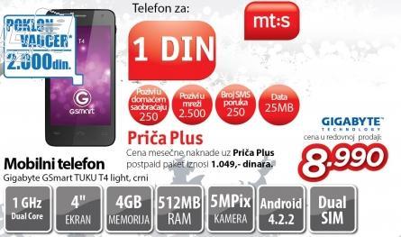 Mobilni telefon Gsmart Tuku T4 Light crni
