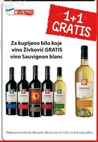 Uz kupljeno vino Živković gratis vino Sauvignon blanc