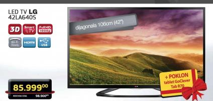 LED Televizor LG 42LA640S + Poklon tablet GoClever Tab R70