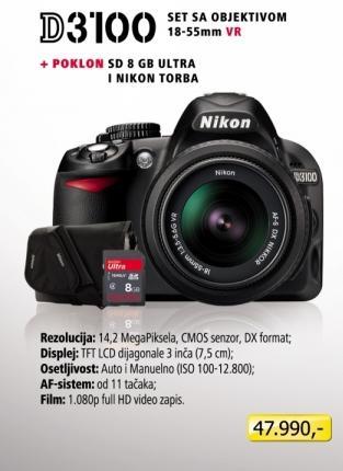 Digitalni fotoaparat D3100 sa objektivom 18-55mm + Poklon SD 8GB i Nikon Torba