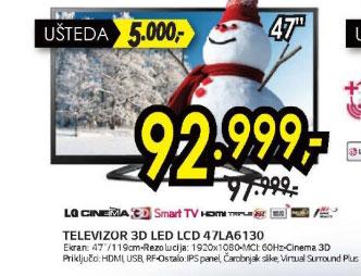 3D televizor LED LCD 47LA6130