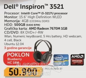 Laptop Inspiron 3521-i3-7670-3Y + poklon Slušalice Blueberry Hc-18m