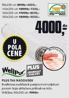 Naddušek Plus T45 140x200