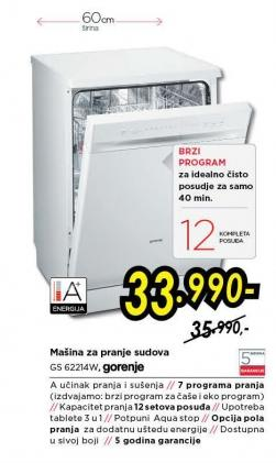 Mašina za pranje sudova Gs 62214w