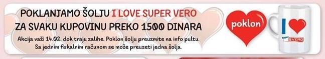Poklanjamo šolju I love super vero za svaku kupovinu preko 1500 dinara
