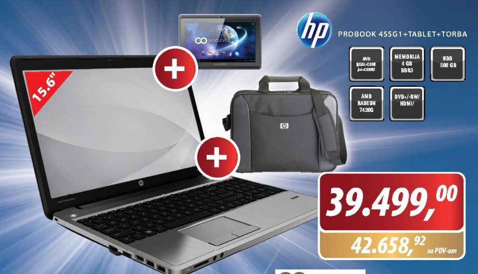 Laptop Probook 455G1+tablet+torba