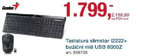 Tastatura Slimstar I2222 i miš bežični Usb 6000z