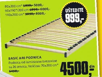 Podnica Basic A40 80x200