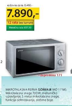 Mikrotalasna Rerna Mo 17 MS