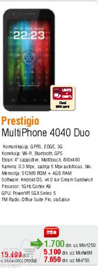 Mobilni telefon MultiPhone 4040 Duo