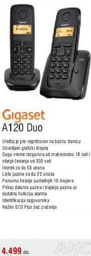 Bežični telefon A120 Duo GIGASET