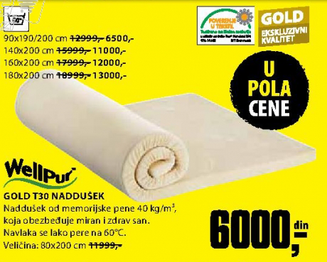 Naddušek, Gold T30 90x190/200 cm