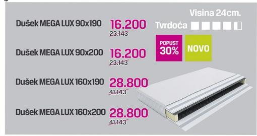 Dušek Mega lux 90x190, 90x200