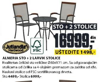 Baštenski sto Almeria sa 2 Larvik stolice Jutlandia