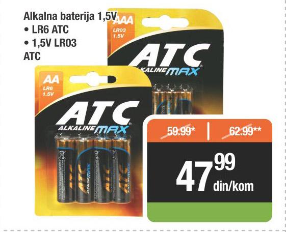 Alkalne baterije 1,5V ATC