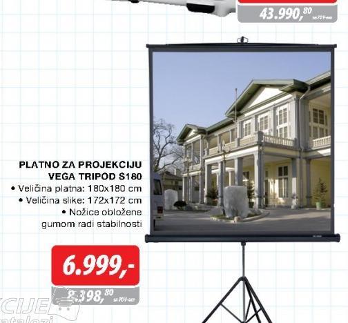 Platno za projekciju Vega Tripod S180