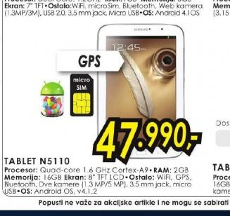 Tablet Galaxy Note 8.0 3G N5100
