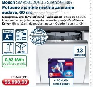 Ugradna mašina za pranje sudova Silence Plus Smv58l20eu + poklon Finsh paket