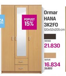 Ormar Hana 3K2FO, natur
