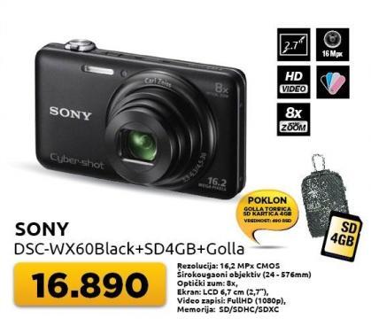 Digitalni fotoaparat Dsc-wx60Black + Poklon SD4GB+torbica Golla