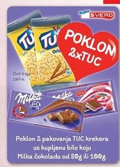 Poklon 2 pakovanja TUC krekera uz kupljenu bilo koju Milka čokoladu od 80g ili 100g